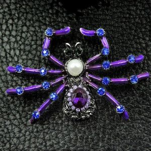 Purple Enamel & Rhinestone Spider Brooch NWT